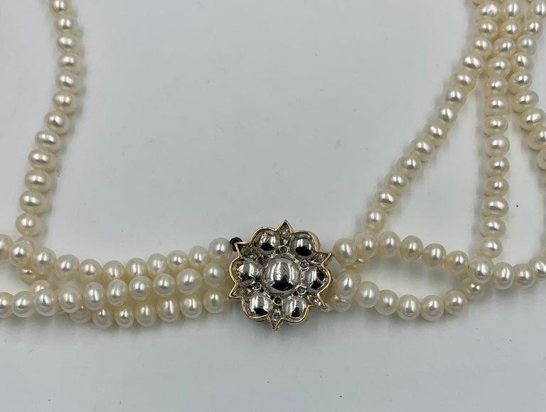 Triple-Strand Pearl Diamond Necklace 14 Karat White Gold For Sale 3