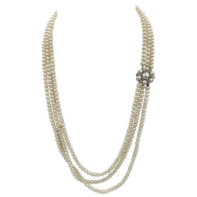 Triple-Strand Pearl Diamond Necklace 14 Karat White Gold For Sale