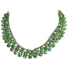 Triple Strand Peridot Crystal Necklace