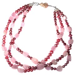 Triple Strand Pink Pearl and Kunzite Necklace