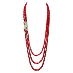 Triple-Strand Red Ruby Bead 18K White Gold Diamond Floral Embellishment Necklace