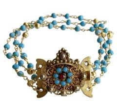 Triple Strand Turquoise Pyrite Bracelet Georgian Turquoise Garnet Clasp