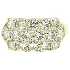 Triple Three-Row Diamond Gold Band Ring