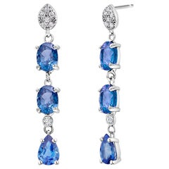 Triple Tier Ceylon Cornflower Blue Sapphires and Diamonds Drop Earrings