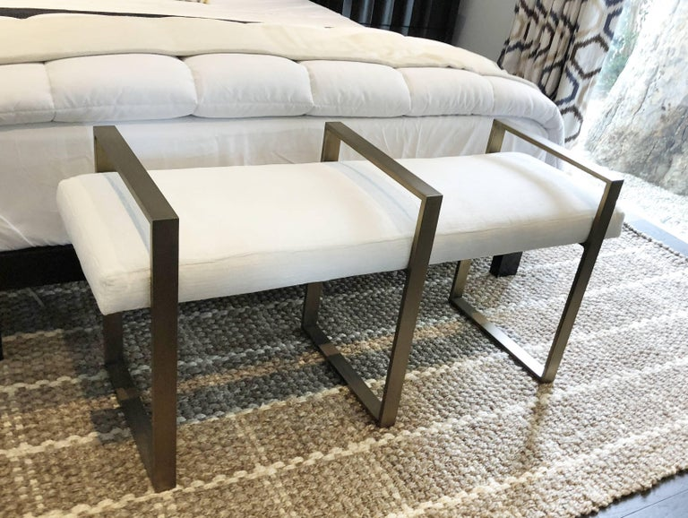 Beautiful and modern bench executed in solid brass and manufactured by Cain Modern as part of the Triple rectangle line.