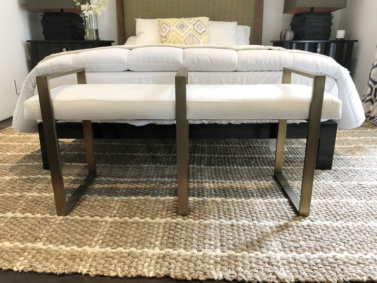 American Triple Rectangle Bench in Solid Brass and Antique Finish For Sale