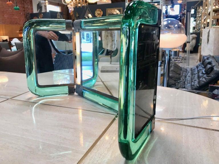 Art Deco Triple Vanity Table Light Mirror, 1940s For Sale