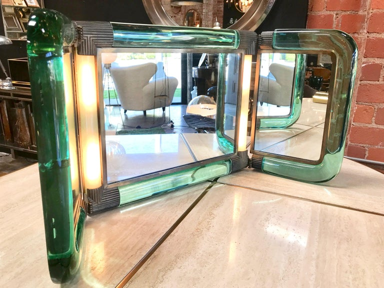 American Triple Vanity Table Light Mirror, 1940s For Sale