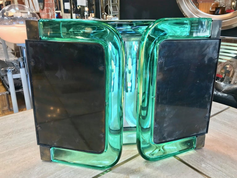 Anodized Triple Vanity Table Light Mirror, 1940s For Sale