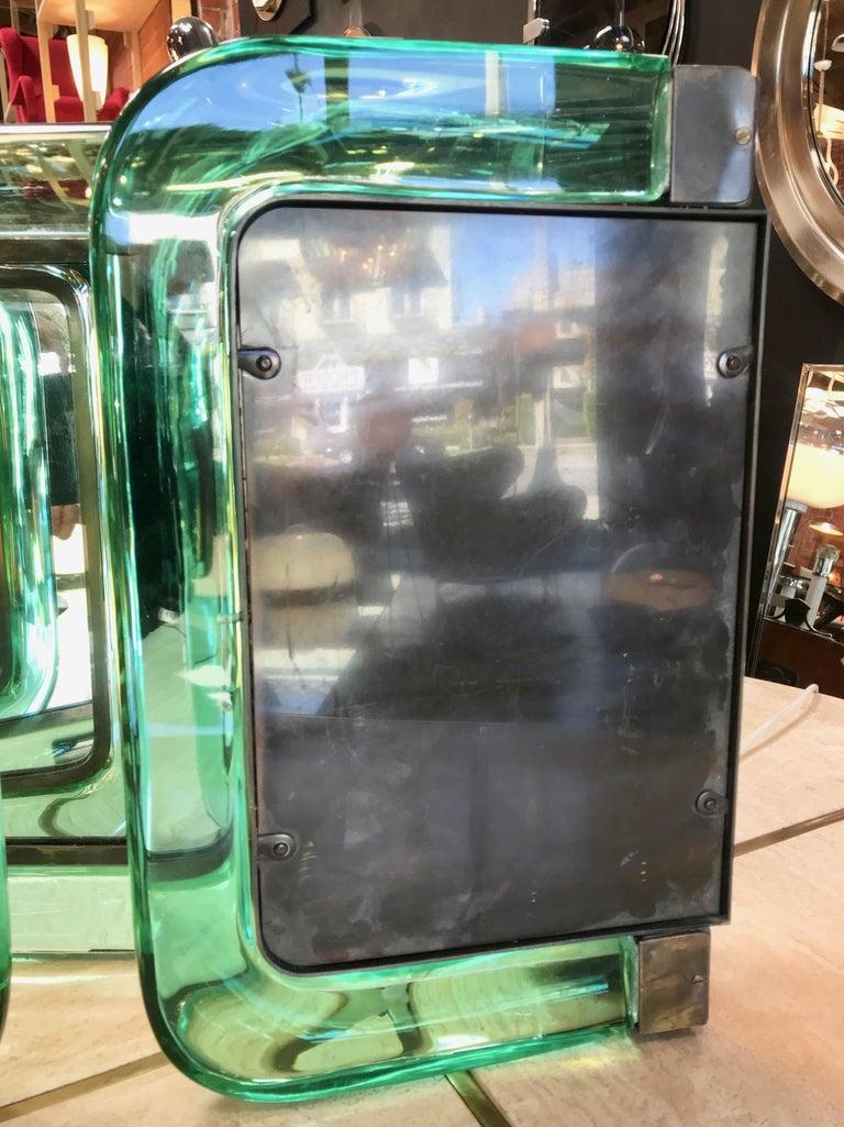 Brass Triple Vanity Table Light Mirror, 1940s For Sale