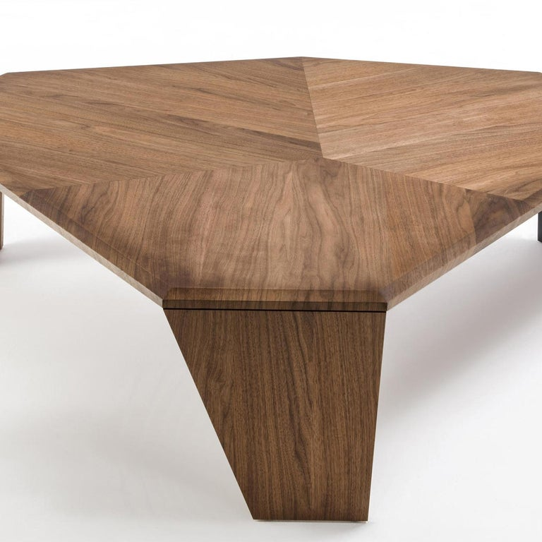 Blackened Triple Walnut Set of 2 Coffee Table For Sale
