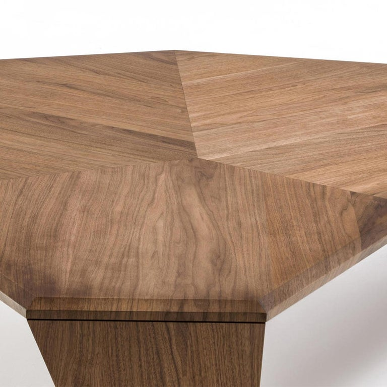 Contemporary Triple Walnut Set of 2 Coffee Table For Sale