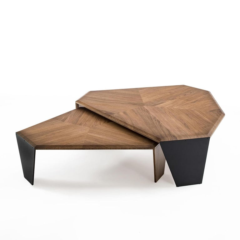 Triple Walnut Set of 2 Coffee Table For Sale 2