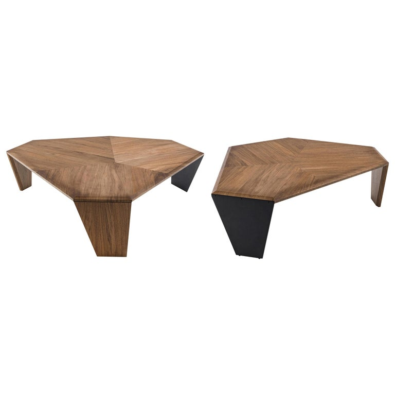 Triple Walnut Set of 2 Coffee Table For Sale