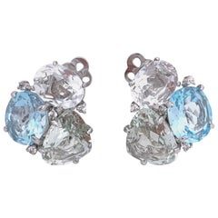 Triple White Topaz, Blue Topaz and Green Amethyst Clip-on Earrings