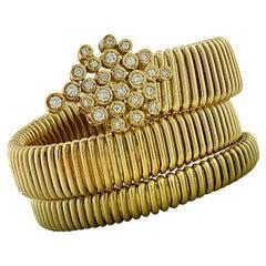 Triple Wrap Tubogas Diamond Bangle Bracelet