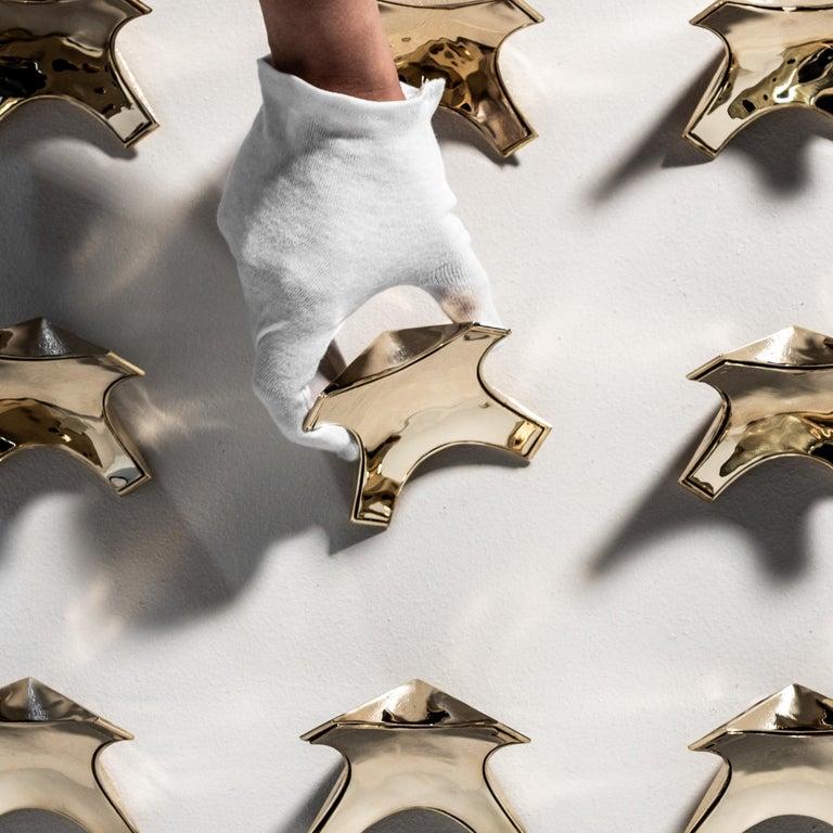 Contemporary Triple X Chandelier Ebonized Oak Brushed Brass For Sale