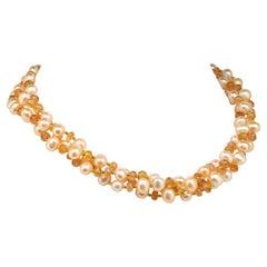 TripleStrand Orange Imperial Topaz Peach Pearl Necklace June Birthstone