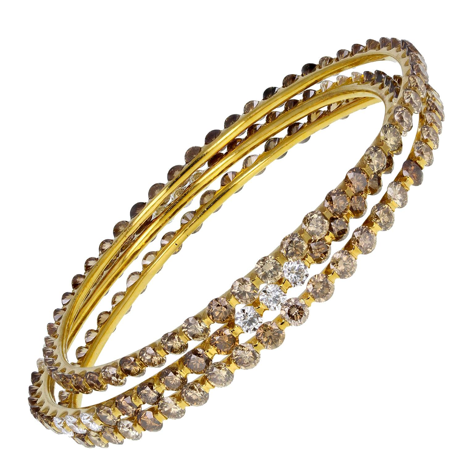 Triplet Stack Fancy Color Brilliant Cut Diamond Gold Bangles