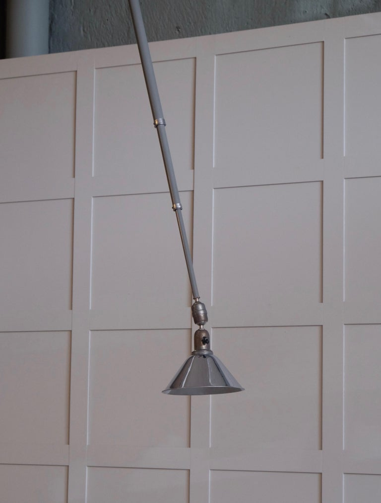 Steel Triplex Industrial Lamp by Johan Petter Johansson, Sweden, 1940s For Sale