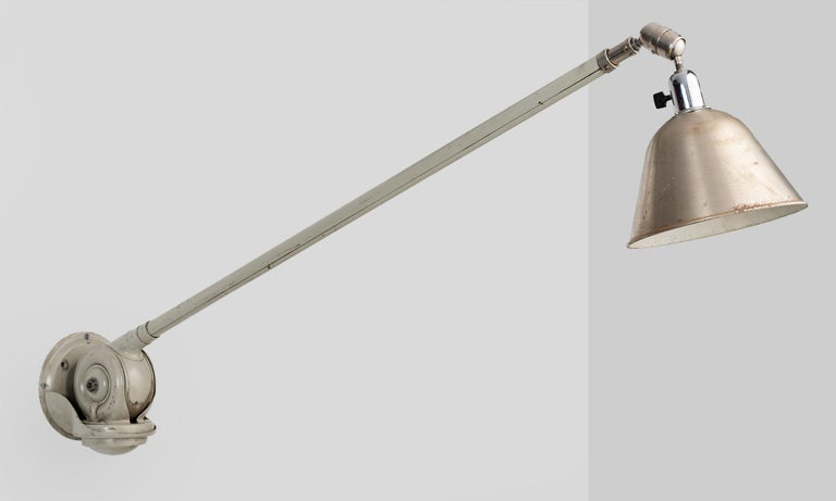 Triplex Industrial Lamp by Petter Johansson, Sweden, circa 1940  Extraordinary telescopic light, constructed from steel and aluminum, with original paint and natural patina.  Depth has 52 to 142