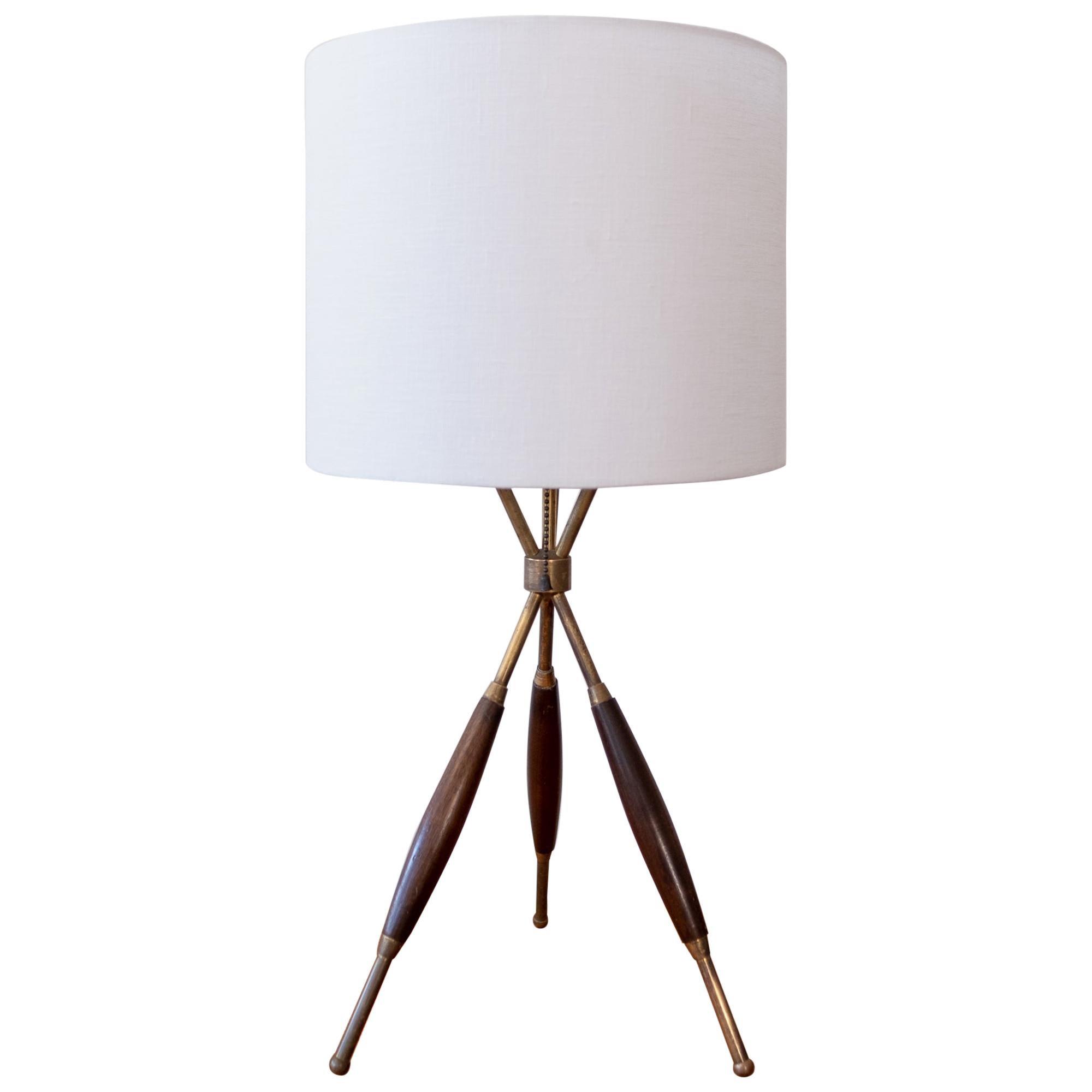 Tripod Brass Table Lamp, 1950s