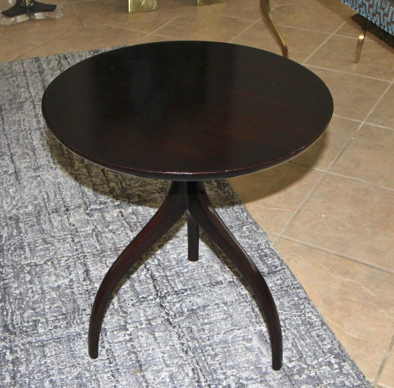 Tripod Dark Walnut Paul Frankl Style End Side Table 10