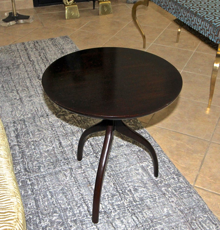 Tripod Dark Walnut Paul Frankl Style End Side Table 11