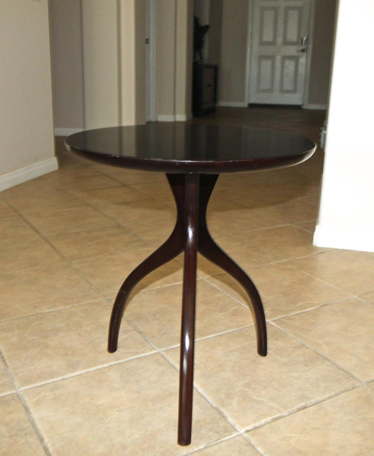 Tripod Dark Walnut Paul Frankl Style End Side Table In Good Condition In Palm Springs, CA