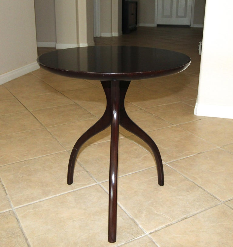 Mid-20th Century Tripod Dark Walnut Paul Frankl Style End Side Table