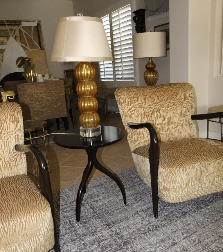 Wood Tripod Dark Walnut Paul Frankl Style End Side Table
