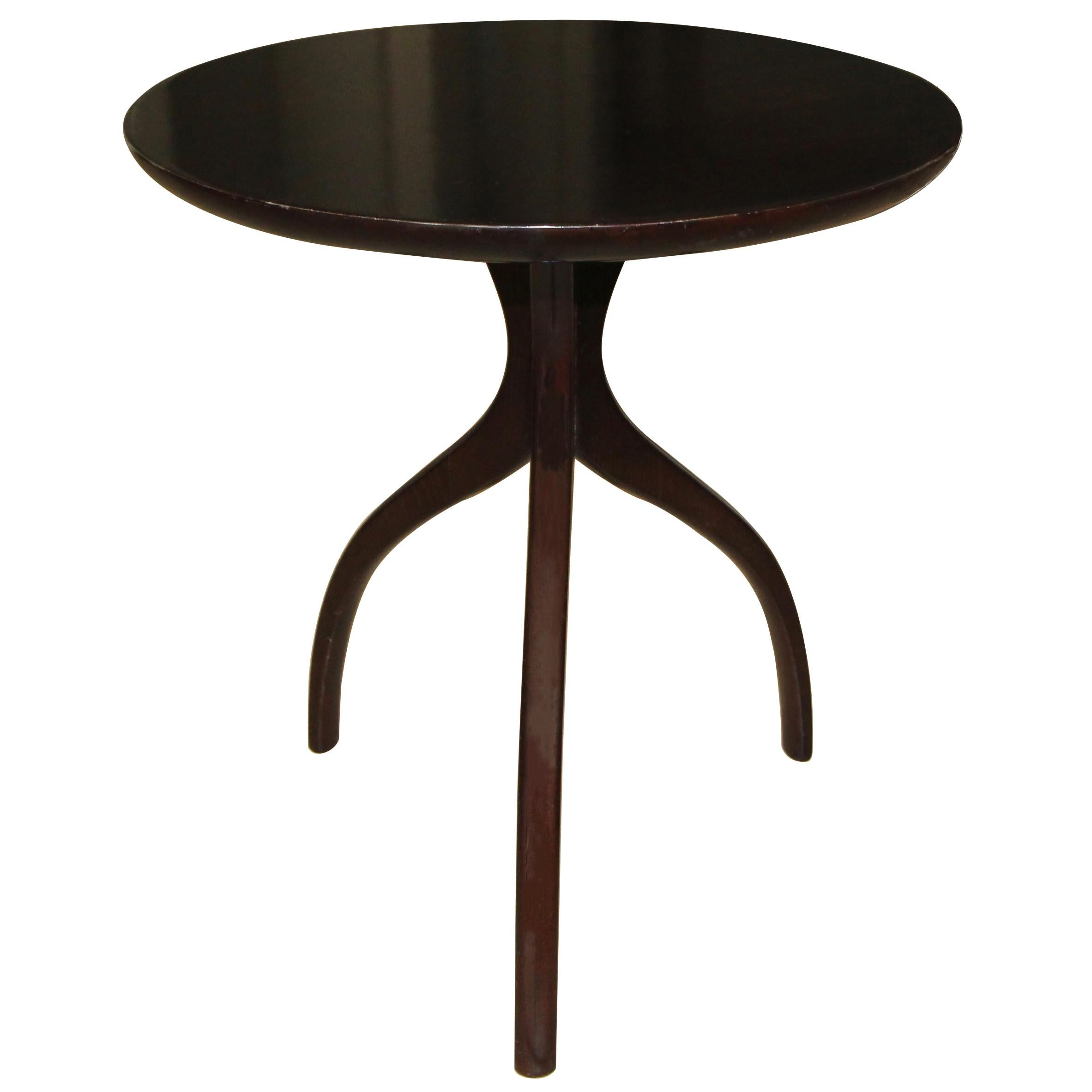 Tripod Dark Walnut Paul Frankl Style End Side Table