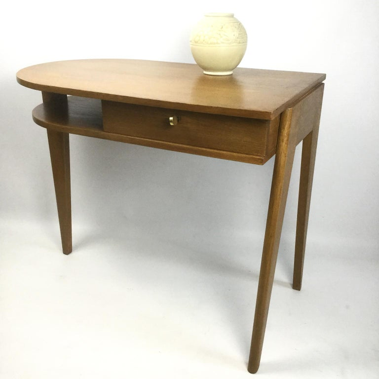 Oak Tripod Desk Attributed to Jacques Adnet 1950s