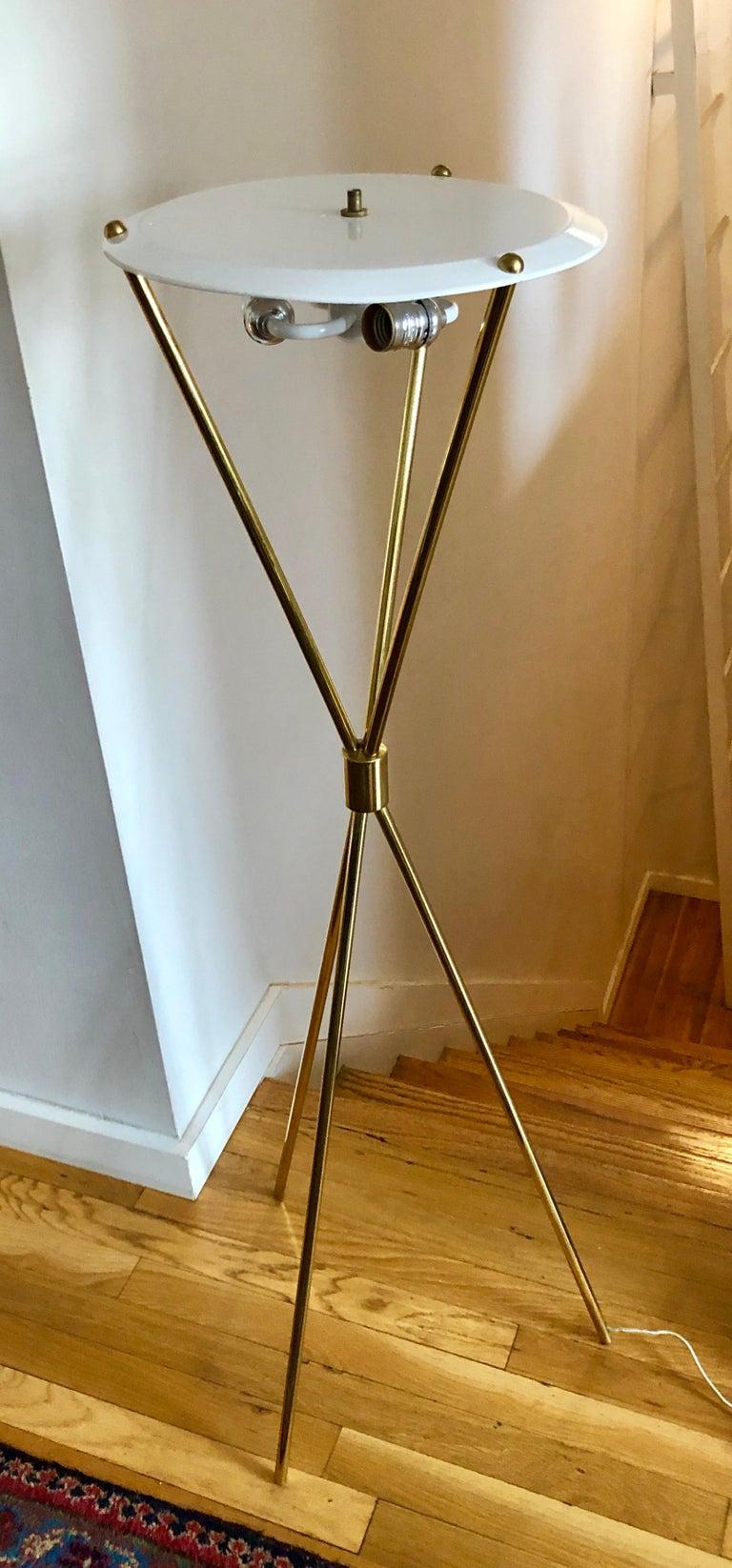 Brass Tripod Floor Lamp by T.H. Robsjohn-Gibbings for Hansen Lighting For Sale