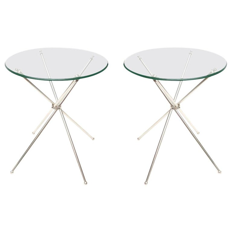 Tripod Folding Silver-Plate Side or Drink Tables Vintage For Sale