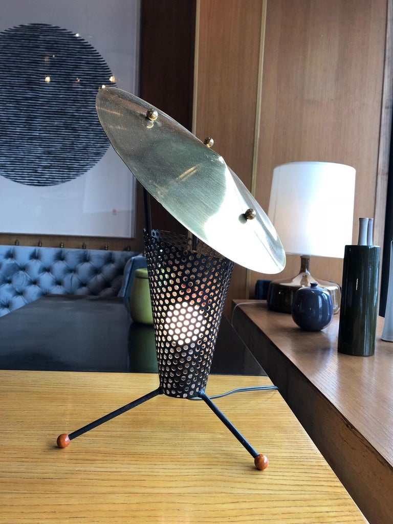 Lacquered Tripod Lamp by Jacques Biny, circa 1950 For Sale