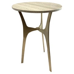 Grey Striped Round Marble Top, Tripod Leg Cocktail Table, China, Contemporary