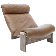 Tripod Lounge Chair in Oak, Leather and Canvas, 1970s