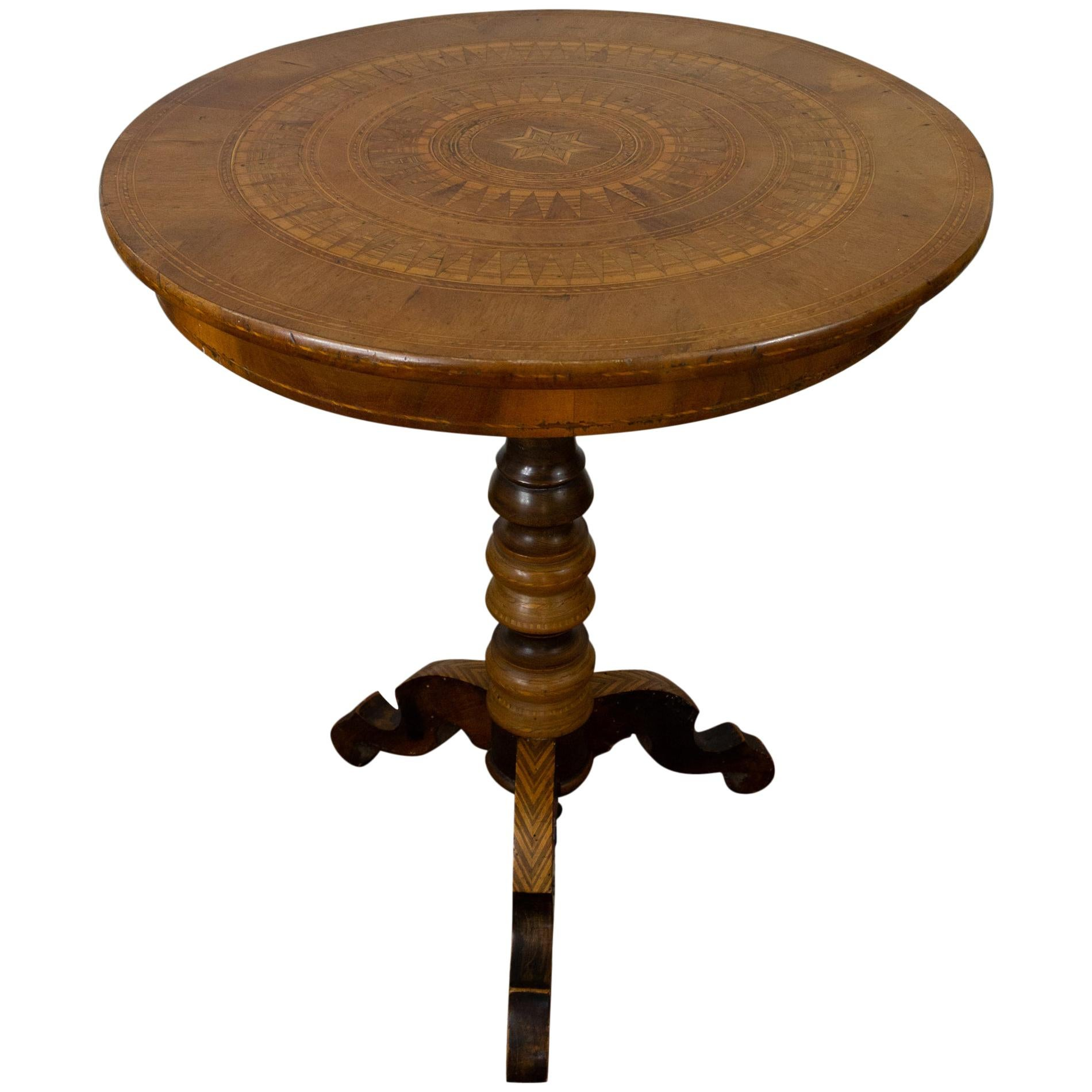 Tripod Pedestal Table in Marquetry and Mixed Wood, Italy, 19th Century