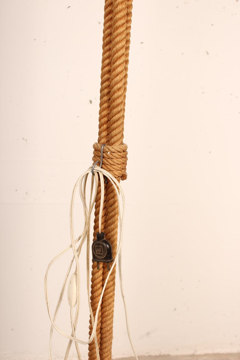 Mid-Century Modern Tripod Rope Floor Lamp by Audoux Minet, France, 1960s For Sale