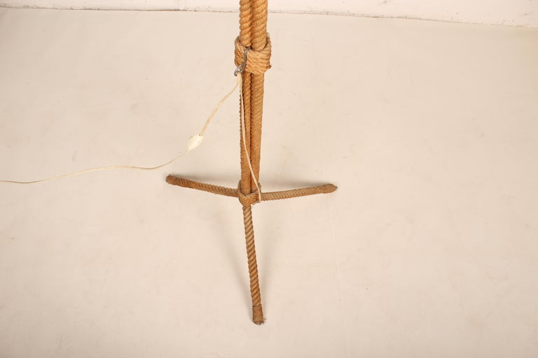 French Tripod Rope Floor Lamp by Audoux Minet, France, 1960s For Sale