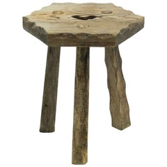 Tripod Stool Pine French Folk Art Primitive Brutalist, circa 1910