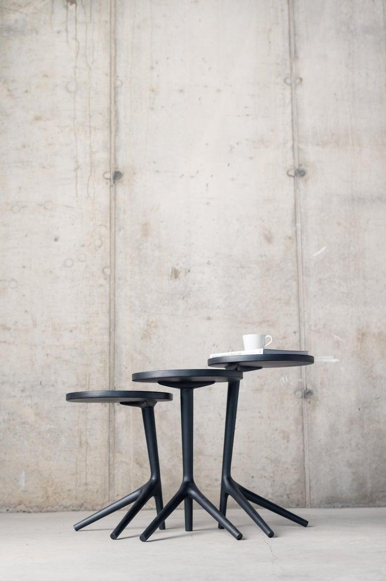 Mid-Century Modern Tripod Table in Black Ash (Tall: 25