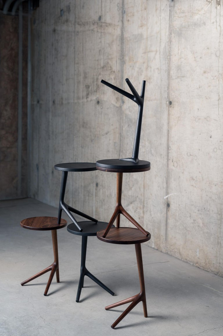 Hand-Carved Tripod Table in Black Ash (Tall: 25