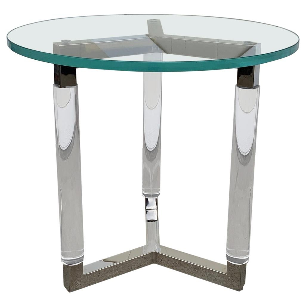 Tripod Table in Lucite and Polished Nickel by Charles Hollis Jones