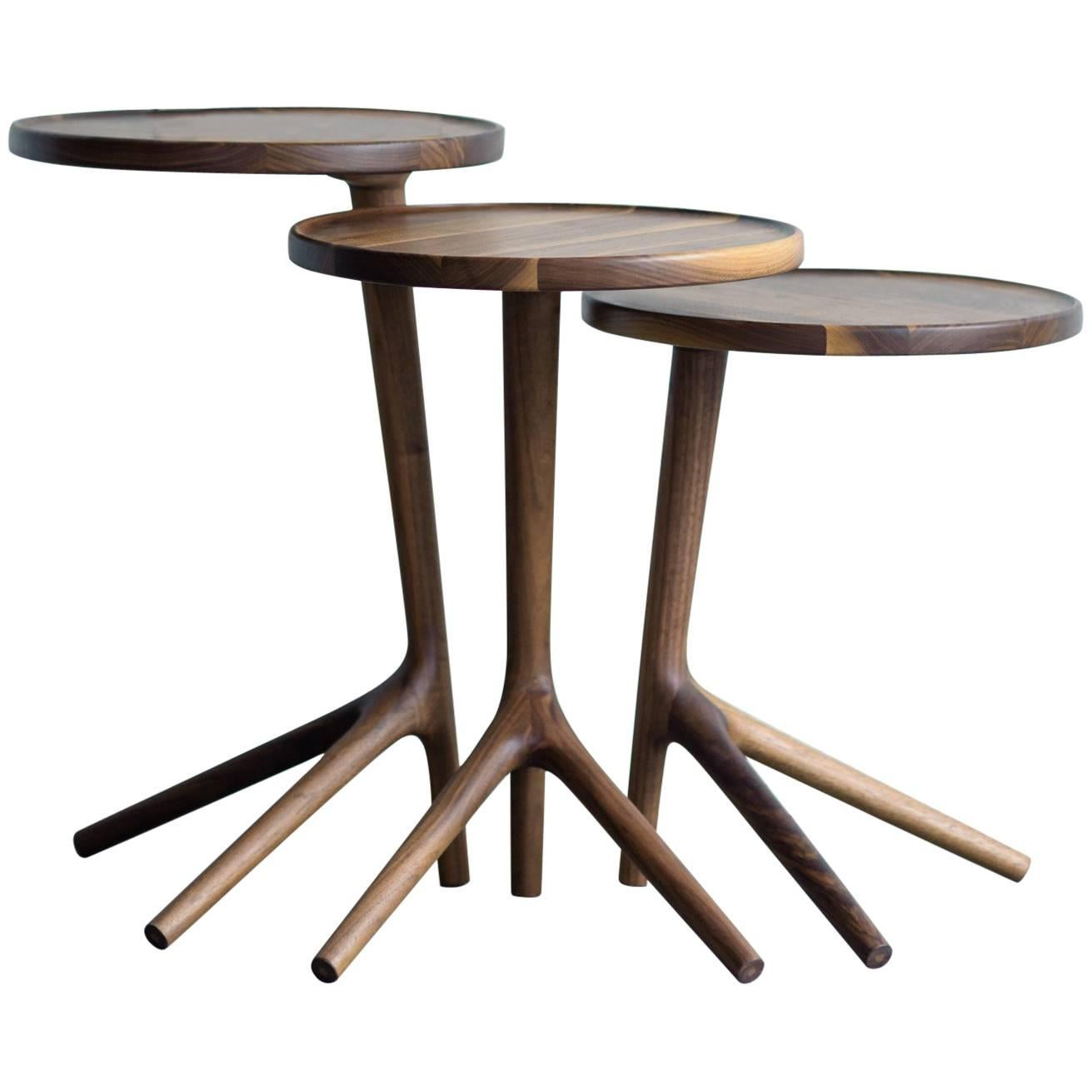 Beau Tripod Accent Table In Walnut Table Handcrafted   Fernweh Woodworking