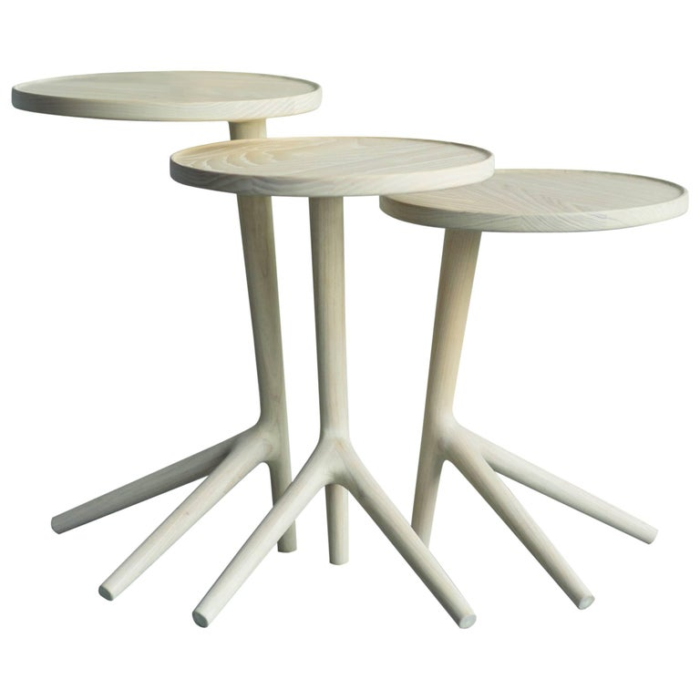 Tripod Table End Nesting Table in White Ash - Fernweh Woodworking For Sale