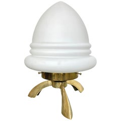 Tripod Table Lamp in Opaline Glass and Brass Angelo Lelli Space Age Style, 1960s