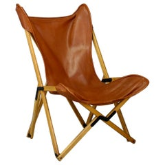 Tripolina Folding Chair by Dario Alfonsi in Leather and Teak from circa 1990s