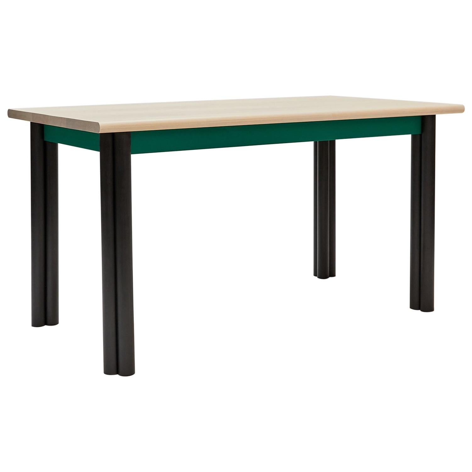 Tripolo Dining Table in Bleached and Ebonized Maple